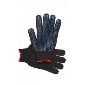 Перчатки рабочие с ПВХ 10-й класс чёрные 5-и нитка (точка)
