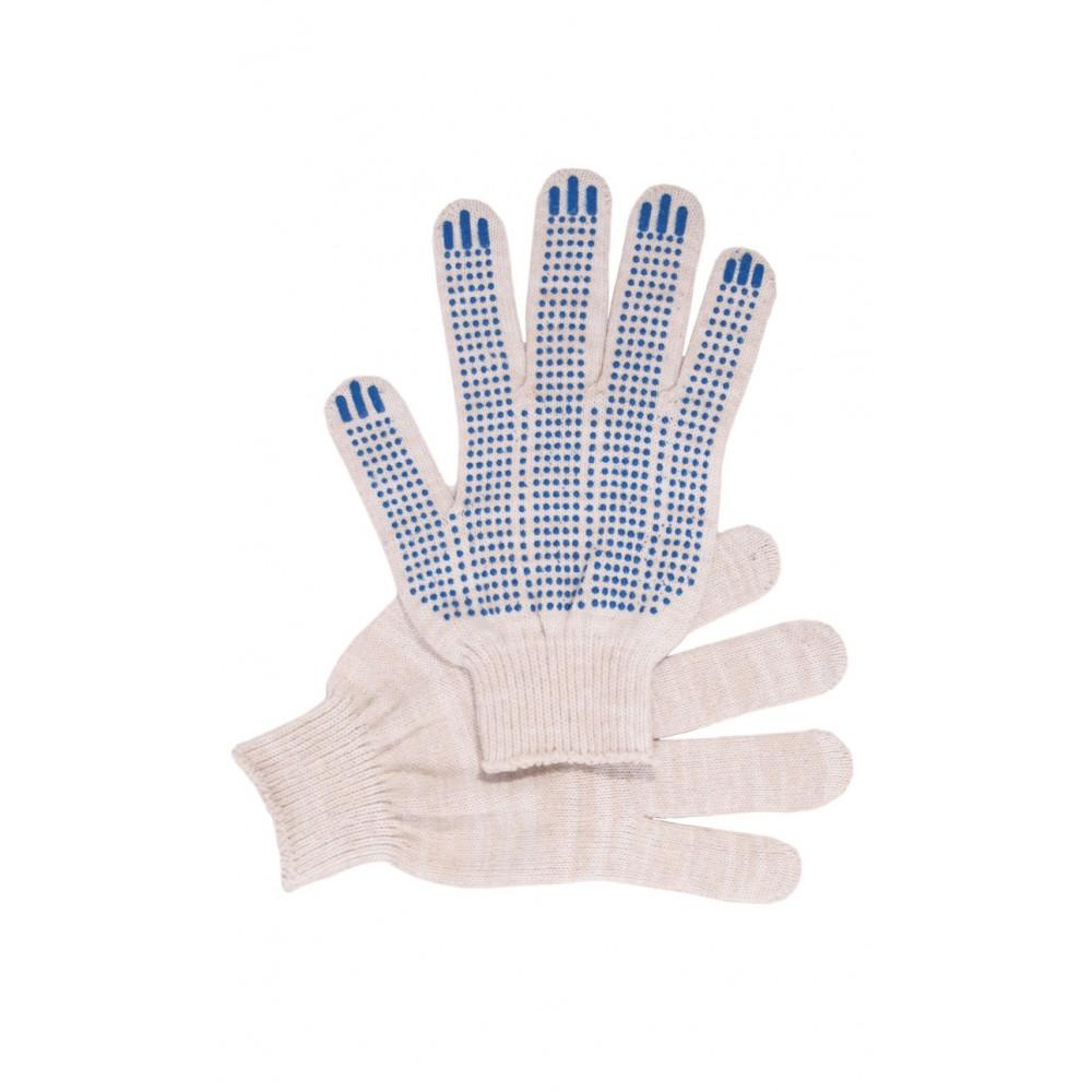 Перчатки рабочие с ПВХ 10-й класс белые 5-и нитка (точка)